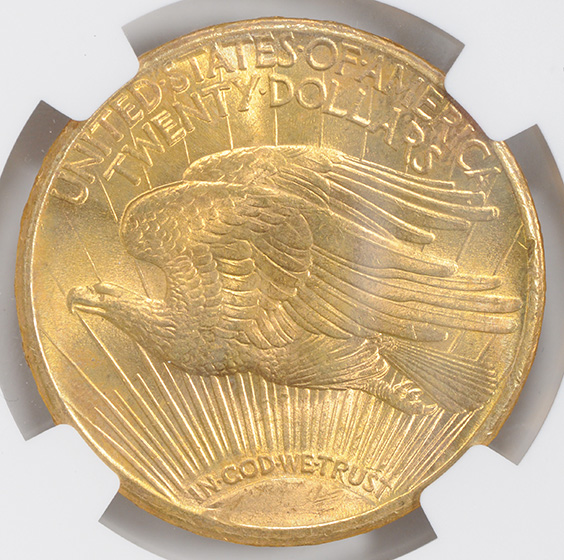 Picture of 1911-S ST. GAUDENS $20, MOTTO MS66