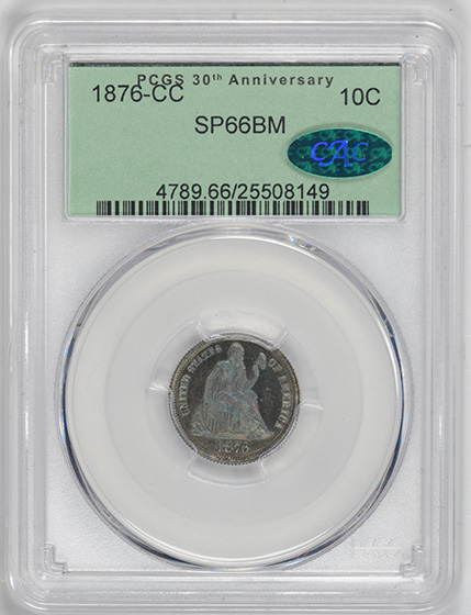 Picture of 1876-CC LIBERTY SEATED 10C MS66 BM