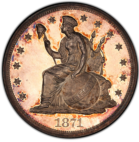 Picture of 1871 LONGACRE S$1 J-1146 PR64 Cameo