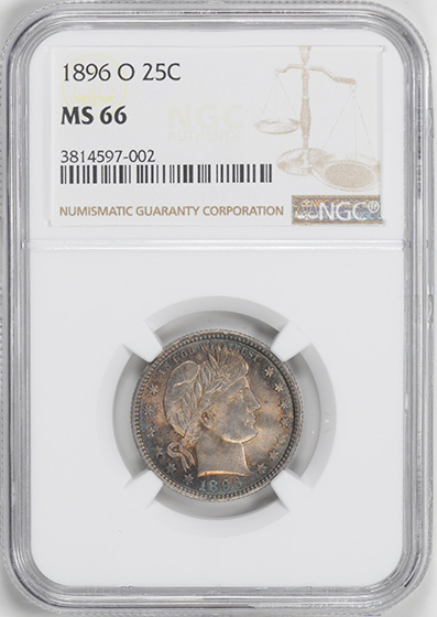 Picture of 1896-O BARBER 25C MS66