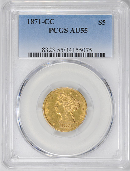 Picture of 1871-CC LIBERTY $5 AU55