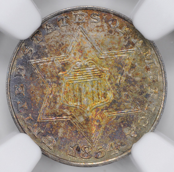 Picture of 1854 SILVER 3CS, TYPE 2 MS67