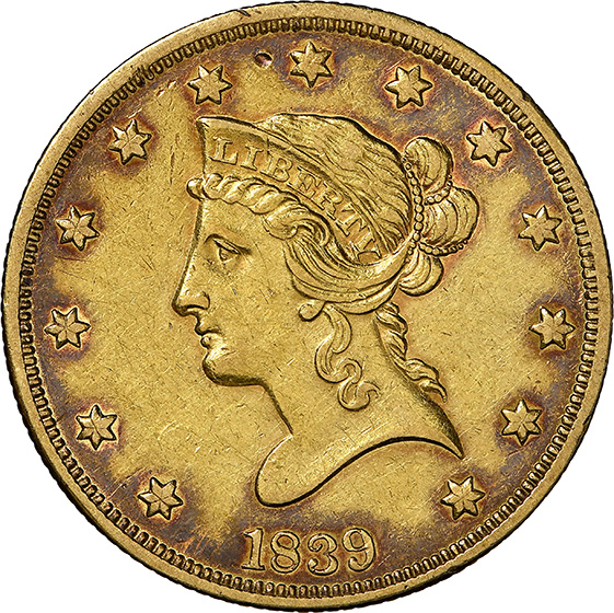 Picture of 1839/8 LIBERTY $10, TYPE OF 1838, NO MOTTO, COV. EAR AU55