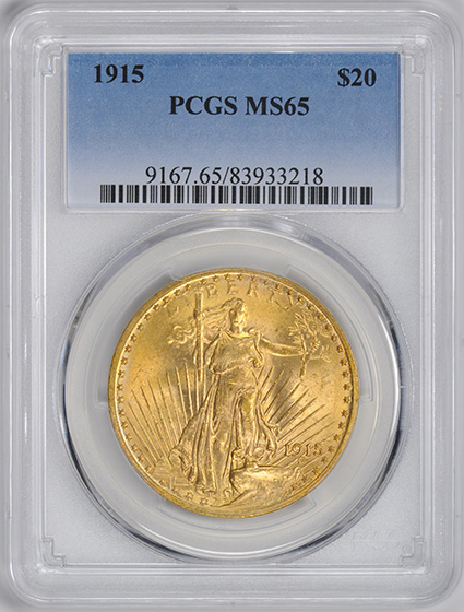 Picture of 1915 ST. GAUDENS $20 MS65