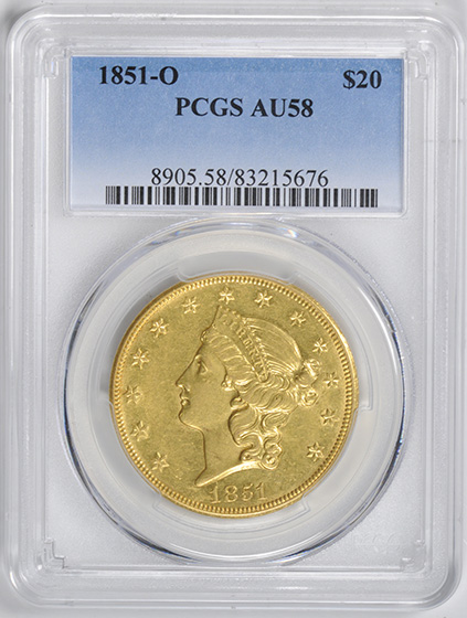 Picture of 1851-O LIBERTY HEAD $20 MS58