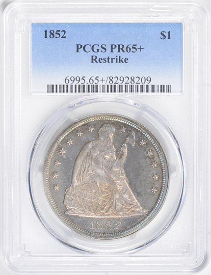 Picture of 1852 LIBERTY SEATED S$1, RESTRIKE PR65+