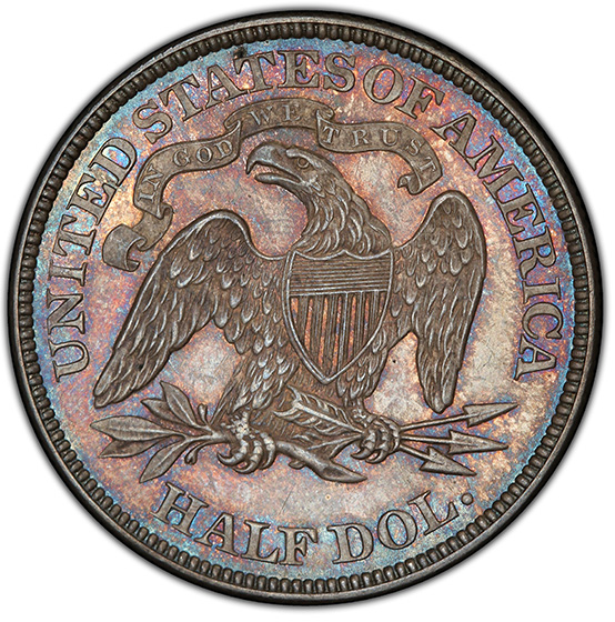 Picture of 1868 LIBERTY SEATED 50C, MOTTO MS65