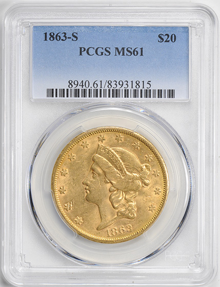 Picture of 1863-S LIBERTY HEAD $20 MS61