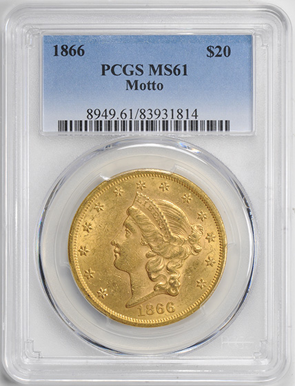 Picture of 1866 LIBERTY HEAD $20, MOTTO MS61