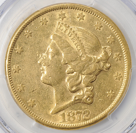 Picture of 1872-CC LIBERTY HEAD $20 AU53