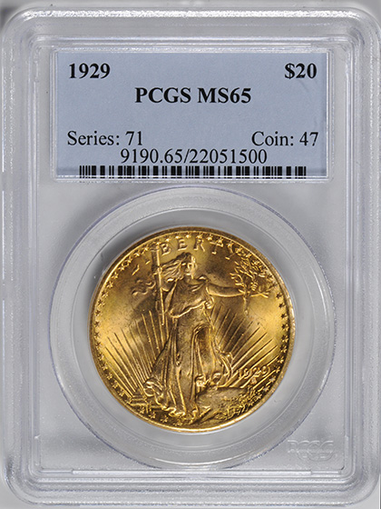 Picture of 1929 ST. GAUDENS $20 MS65