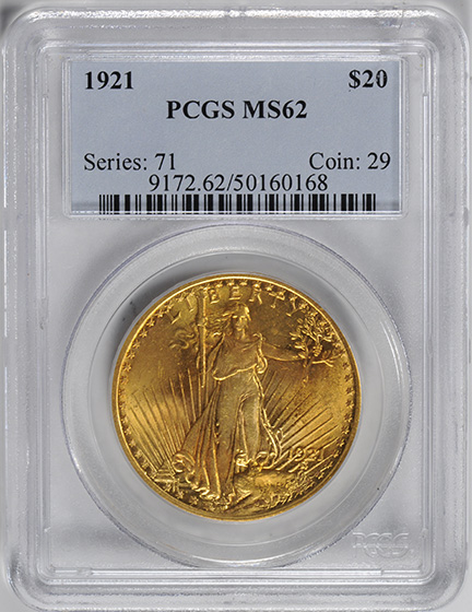 Picture of 1921 ST. GAUDENS $20, MOTTO MS62