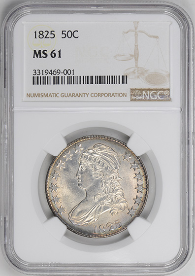 Picture of 1825 CAPPED BUST 50C MS61