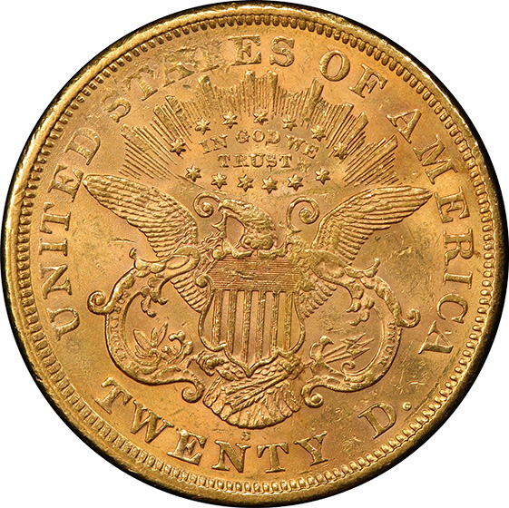 Picture of 1869-S LIBERTY HEAD $20 MS61