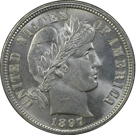 Picture of 1897-O BARBER 10C MS67