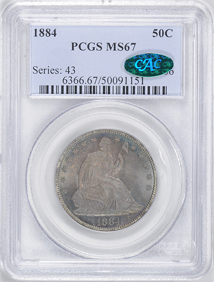 Picture of 1884 LIBERTY SEATED 50C, MOTTO MS67