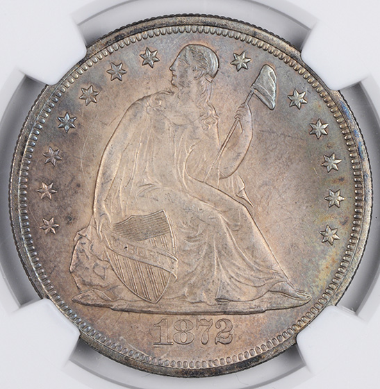 Picture of 1872 LIBERTY SEATED S$1, MOTTO MS65
