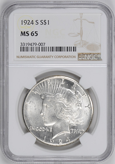 Picture of 1924-S PEACE $1 MS65