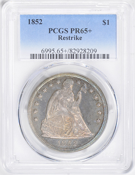 Picture of 1852 LIBERTY SEATED S$1, RESTRIKE PR65