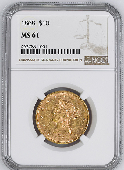 Picture of 1868 LIBERTY HEAD $10 MS61