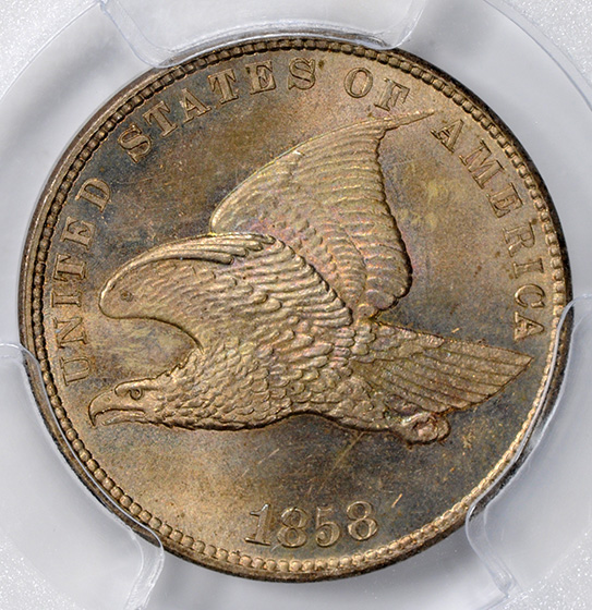 Picture of 1858 FLYING EAGLE 1C, SMALL LETTERS MS66