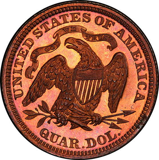 Picture of 1867 25C J-590 PR65 Red Brown