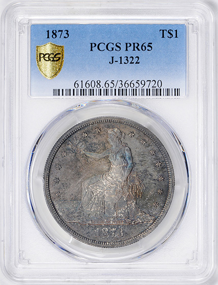 Picture of 1873 TRADE  $1 J-1322 PR65