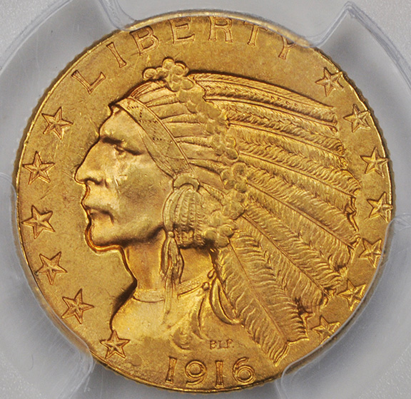 Picture of 1916-S INDIAN HEAD $5 MS64