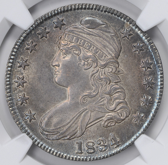 Picture of 1834 CAPPED BUST 50C, LARGE DATE, SMALL LETTERS MS65