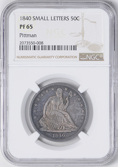 Picture of 1840 LIBERTY SEATED 50C, NO MOTTO PR65