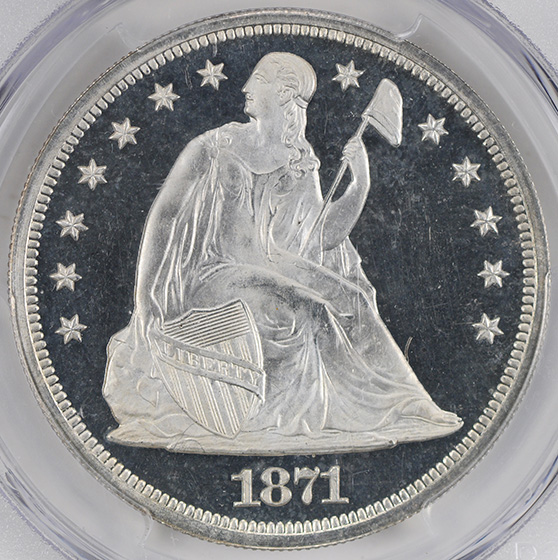 Picture of 1871 LIBERTY SEATED S$1, MOTTO PR66 Deep Cameo