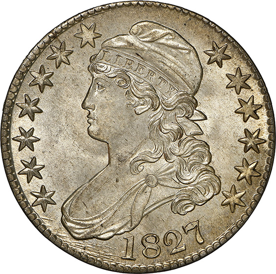Picture of 1827 CAPPED BUST 50C, SQUARE BASE 2, LETTERED EDGE MS67