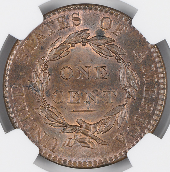 Picture of 1820 CORONET HEAD 1C, LARGE DATE MS65 Red Brown