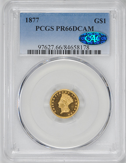 Picture of 1877 GOLD G$1, TYPE 3 PR66 Deep Cameo