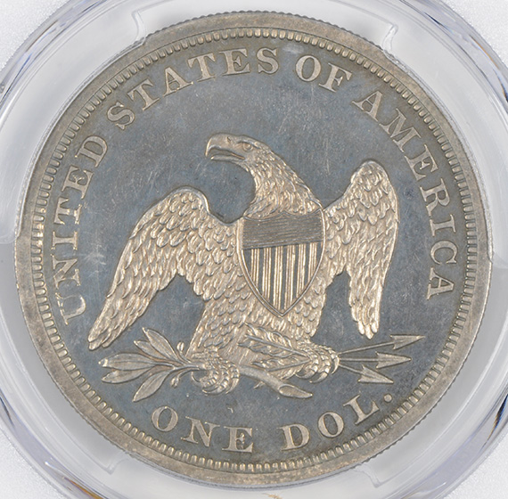 Picture of 1862 LIBERTY SEATED S$1, NO MOTTO PR65