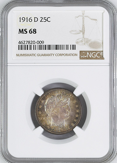 Picture of 1916-D BARBER 25C MS68
