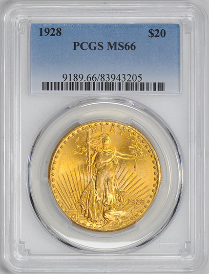 Picture of 1928 ST. GAUDENS $20 MS66