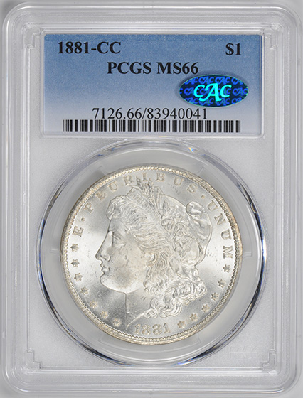 Picture of 1881-CC MORGAN S$1 MS66