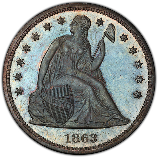 Picture of 1863 LIBERTY SEATED S$1, NO MOTTO PR66