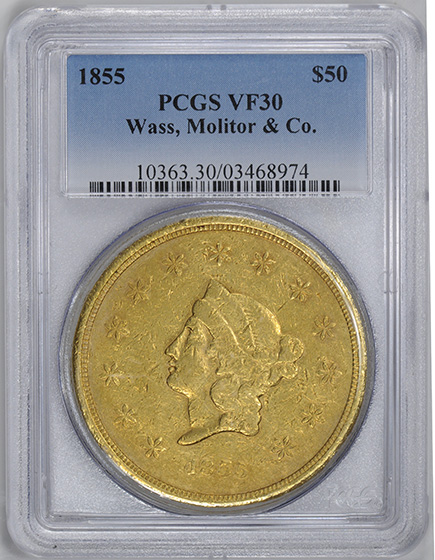 Picture of 1855 WASS, MOLITOR G$50, WASS, MOLITOR & CO. VF30