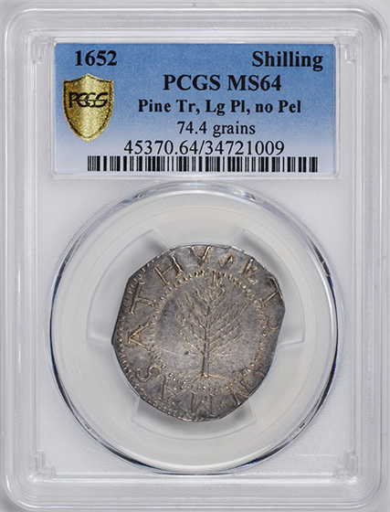 Picture of 1652 PINE TREE SHILLING, LG PL, NO PEL MS64