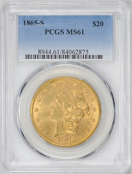 Picture of 1865-S LIBERTY HEAD $20 MS61