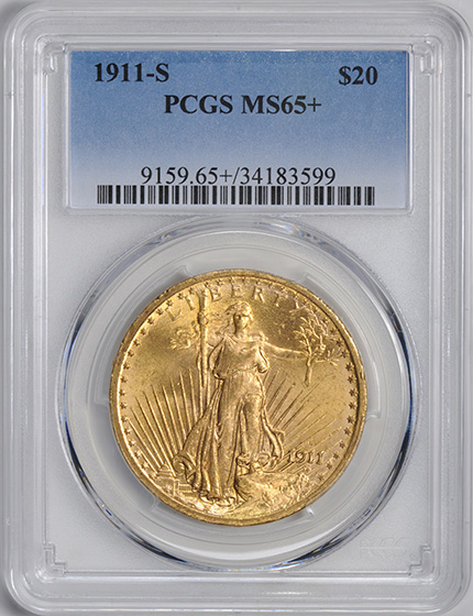 Picture of 1911-S ST. GAUDENS $20 MS65+