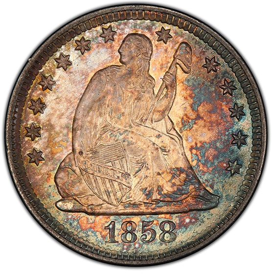Picture of 1858-O LIBERTY SEATED 25C, NO MOTTO MS65