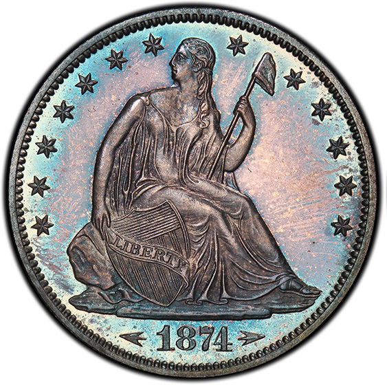 Picture of 1874 LIBERTY SEATED 50C, ARROWS, MOTTO PR66