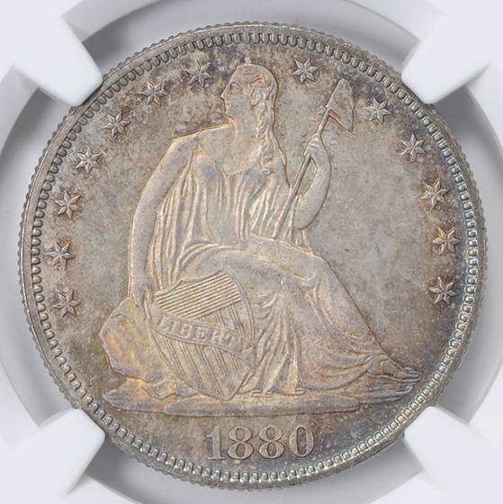 Picture of 1880 LIBERTY SEATED 50C, MOTTO MS67