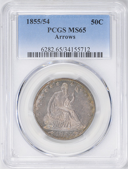 Picture of 1855/54 LIBERTY SEATED 50C, ARROWS MS65