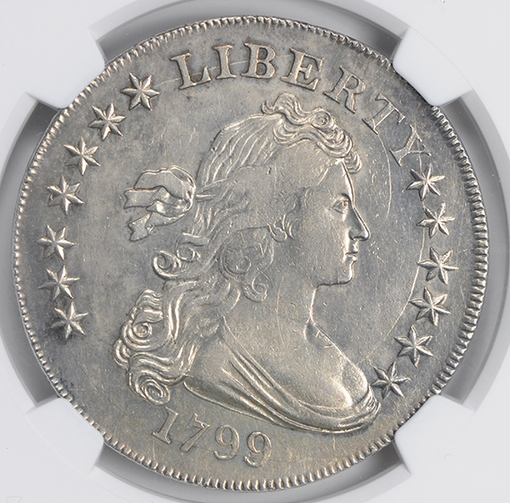 Picture of 1799 DRAPED BUST $1, IRREGULAR DATE-15 STARS AU58