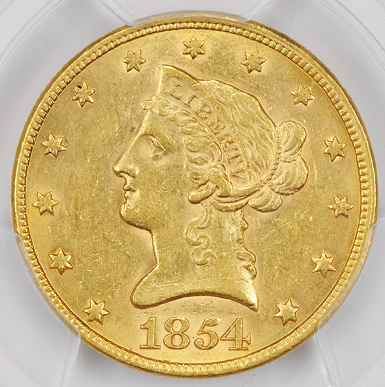 Picture of 1854 LIBERTY HEAD $10 AU58