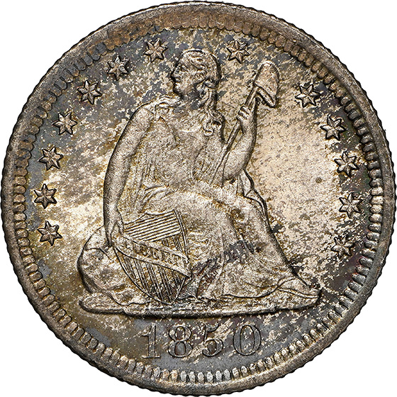 Picture of 1850-O LIBERTY SEATED 25C, NO MOTTO MS65